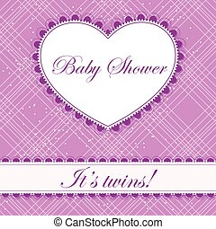 Baby shower with heart banner twins