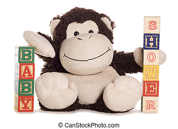 Baby shower with soft toy monkey studio cutout