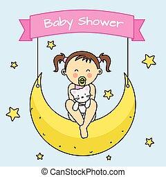 .Baby girl sitting on the moon