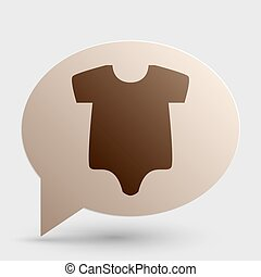 Baby sign illustration. Brown gradient icon on bubble with shadow.