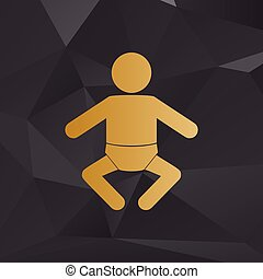 Baby sign illustration. Golden style on background with polygons.