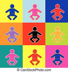 Baby sign illustration. Vector. Pop-art style colorful icons set with 3 colors.