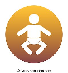 Baby sign illustration. White icon in circle with golden gradien