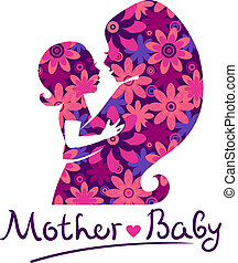 baby, silhouettes, moeder