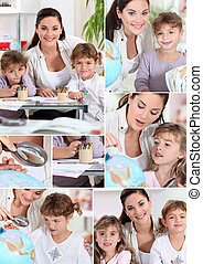 Baby-sitter and little girls doing homework