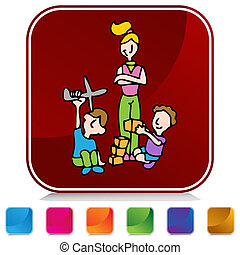 Baby Sitter Button Set - An image of a baby sitter button...