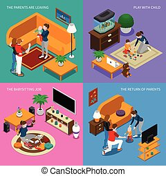 Baby Sitter Isometric Concept - Baby sitter job, parents...