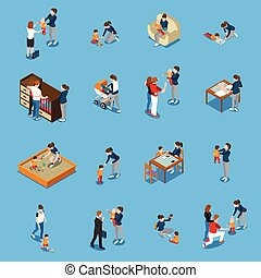 Baby Sitter Isometric People - Baby sitter during child...