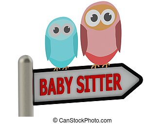 Baby sitter - Rendered artwork with white background