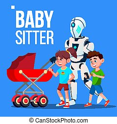 Baby Sitter Robot Going With Baby Carriage Vector. Isolated...