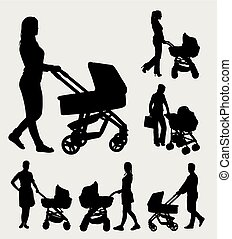 Baby sitter silhouette - baby sitter male and female action...