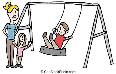baby sitter with kids on swing set