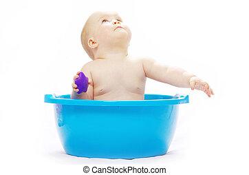 baby sitting in tub - baby sitting in a blue tub