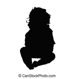 baby sitting silhouette illustration