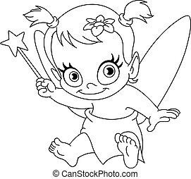 baby, skitseret, fairy