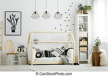 Baby, stijl, kamer, scandinavische. Stijl, kinderbed, licht ...