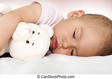 Baby sleep - Little baby sleeping and hug her toy