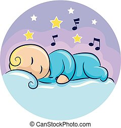 Illustration of a Baby Sleeping Wearing Onesies and Surrounded by Stars and Music Notes