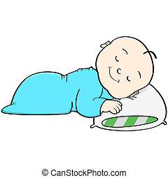 Baby sleeping - Cartoon illustration showing a baby sleeping...