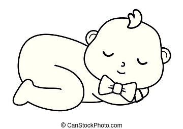 baby sleeping icon in black and white