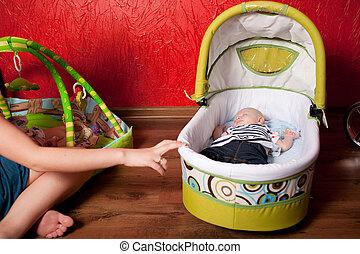 Baby Sleeping in a Stroller