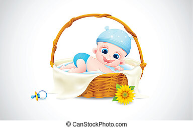 Baby sleeping in Basket