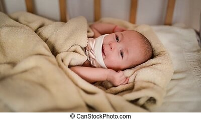Baby Sleeping in Bed - Newborn Kid Sleep, New Born Two Month...