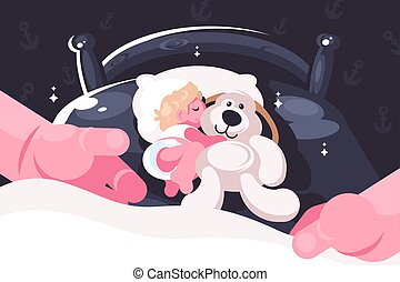 Baby sleeping in crib with toy teddy bear.