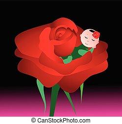 Baby sleeping in rose