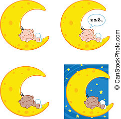 Baby Sleeping on A Moon Collection