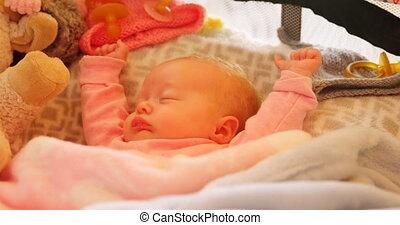 Baby sleeping on baby bed 4k - Baby sleeping on baby bed at ...