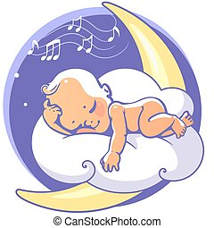 Cute little baby sleeping on moon listen lullaby. Colorful vector illustration. Smiling cartoon kid lying on cloud as soft pillow. Child resting at night. Kid sleeping on stomach Baby shower card.