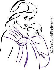 Baby sling carrier. Vector illustration