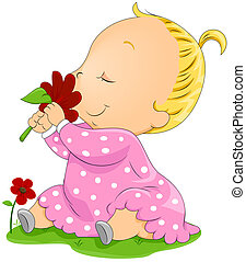 Baby smelling Flower with Clipping Path