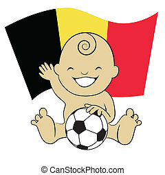 Baby Soccer Boy with Belgium Flag Background :cartoon illustration