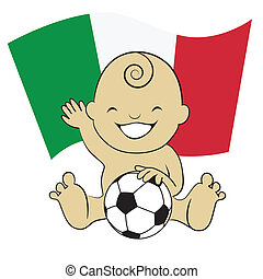 Baby Soccer Boy with Italy Flag Background :cartoon illustration