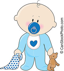 A baby boy with a soother, blanket and teddy bear