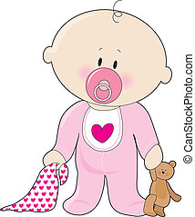 A baby girl with a soother, blanket and teddy bear