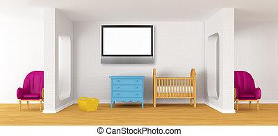 baby, sovrum, med, a, crib.