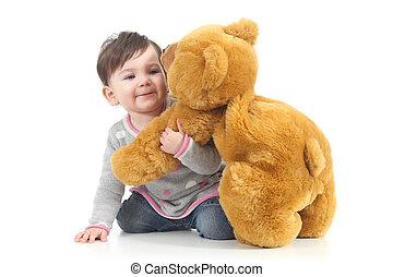baby, spelend, beer, teddy