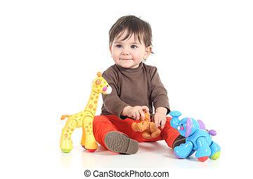 baby, spelend, kleurrijke, speelgoed