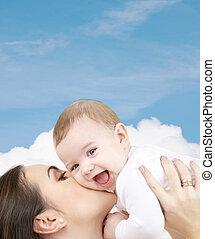 baby, spelend, lachen, moeder