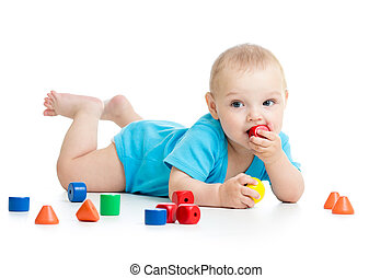 baby, spelend, met, blok, speelgoed