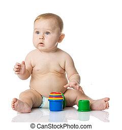 baby, spelend, met, kop, toys., vrijstaand, op wit, achtergrond