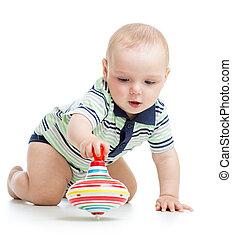 baby, spelend, met, speelbal, whirligig