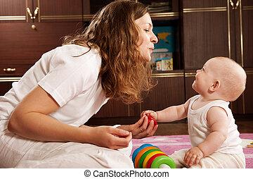 baby, spelend, moeder