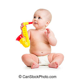 baby, spelend, muzikaal stuk speelgoed