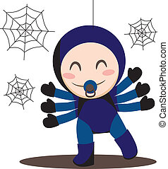 Baby Spider - Cute sweet baby boy wearing spider costume