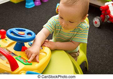 baby, spielende, Spielzeuge