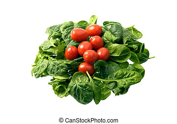 Baby spinach and cherry tomatoes